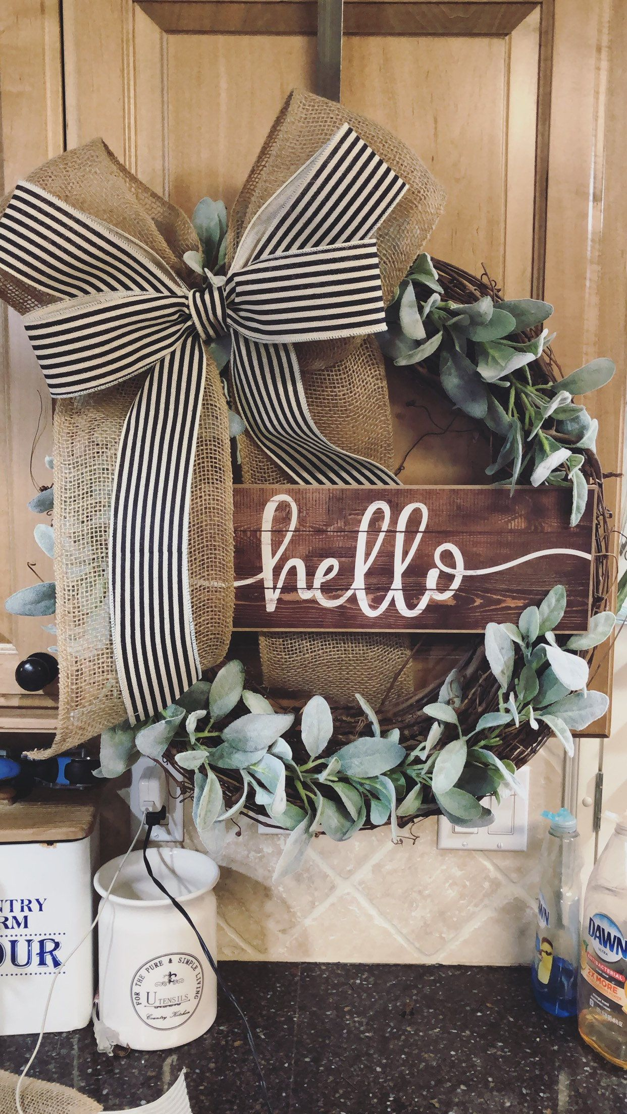 Photo of Farmhouse wreath-grapevine wreath-front door decor- wreath with lamb ears- farmhouse- everyday wreath- year-round wreath- front door wreath
