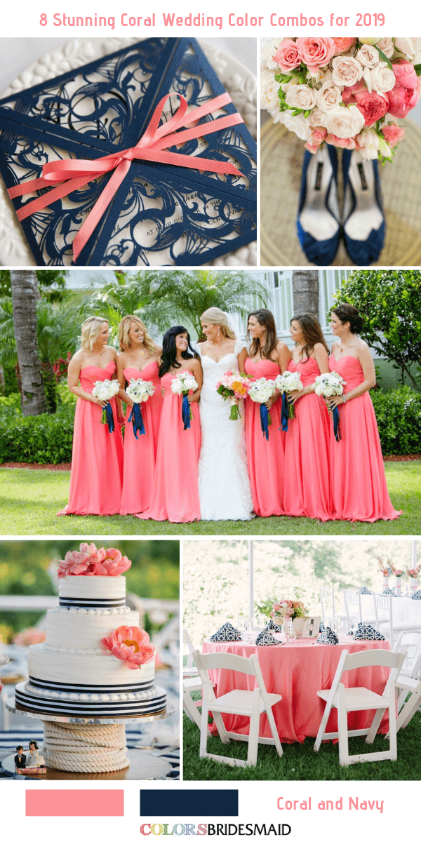 8 Stunning Coral Wedding Color Combos for 2019 #turquoisecoralweddings