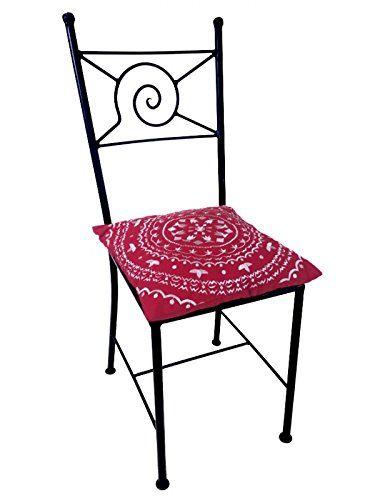Original Orientalischer Stuhl Gartenstuhl Aus Metall Schwarz Navarra    Marokkanischer Balkonstuhl Inkl. Sitzkissen Stuhlkissen  