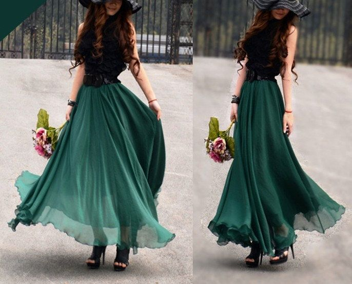 women's Jade green silk Chiffon 8 meters of skirt circumference ...