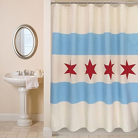 Proudly Show Your Love For The Windy City With Park B Smith Chicago Flag Shower Curtain Depicting Official This Culturally Charming