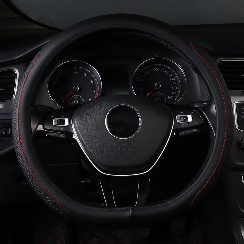 Car Steering Wheel Cover Non Slip Genuine Leather Accessories For
