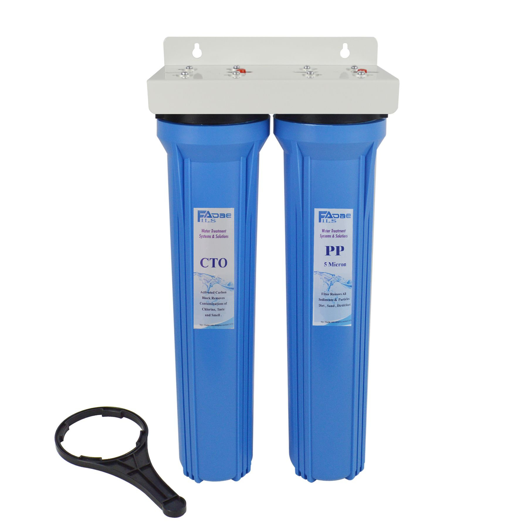 Whole House 2 Stage Water Filter System Blue Color With 20 X2 5 Pp Sediment And Premium Carbon Block Filter 3 4 In Water Filters System Filters Water Filter