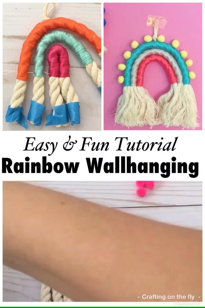 DIY Rainbow Wall Hanging tutorial - Crafting on the Fly - File canta -  Rainbow Wall hanging tutorial with easy step by step instructions and video #wallhanging #rainbow  - #Çanta #Crafting #Diy #File #Fly #Hanging #joanncrafts #Rainbow #Tutorial #Wall