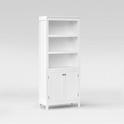 Carson 72 Shelf Bookcase With Storage White Threshold