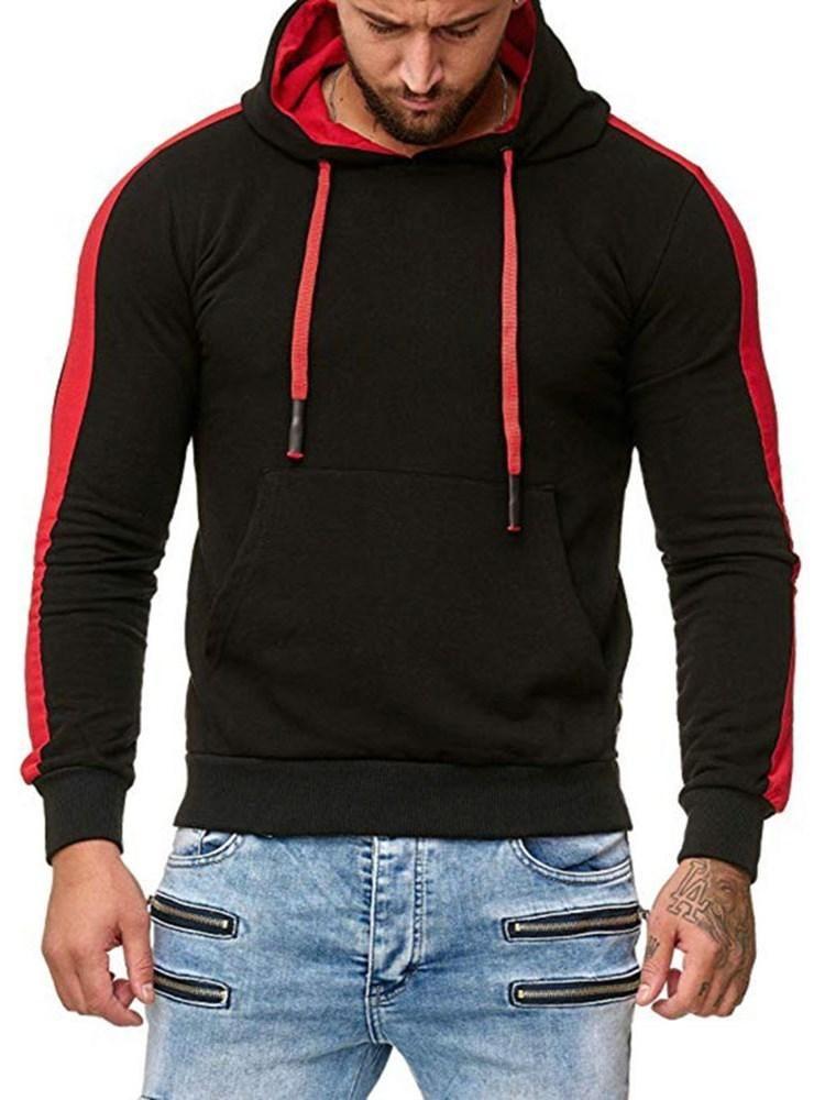 Macondoo Mens Pullover Color Block Winter Long Sleeve Hooded Hip Hop Sweatshirt