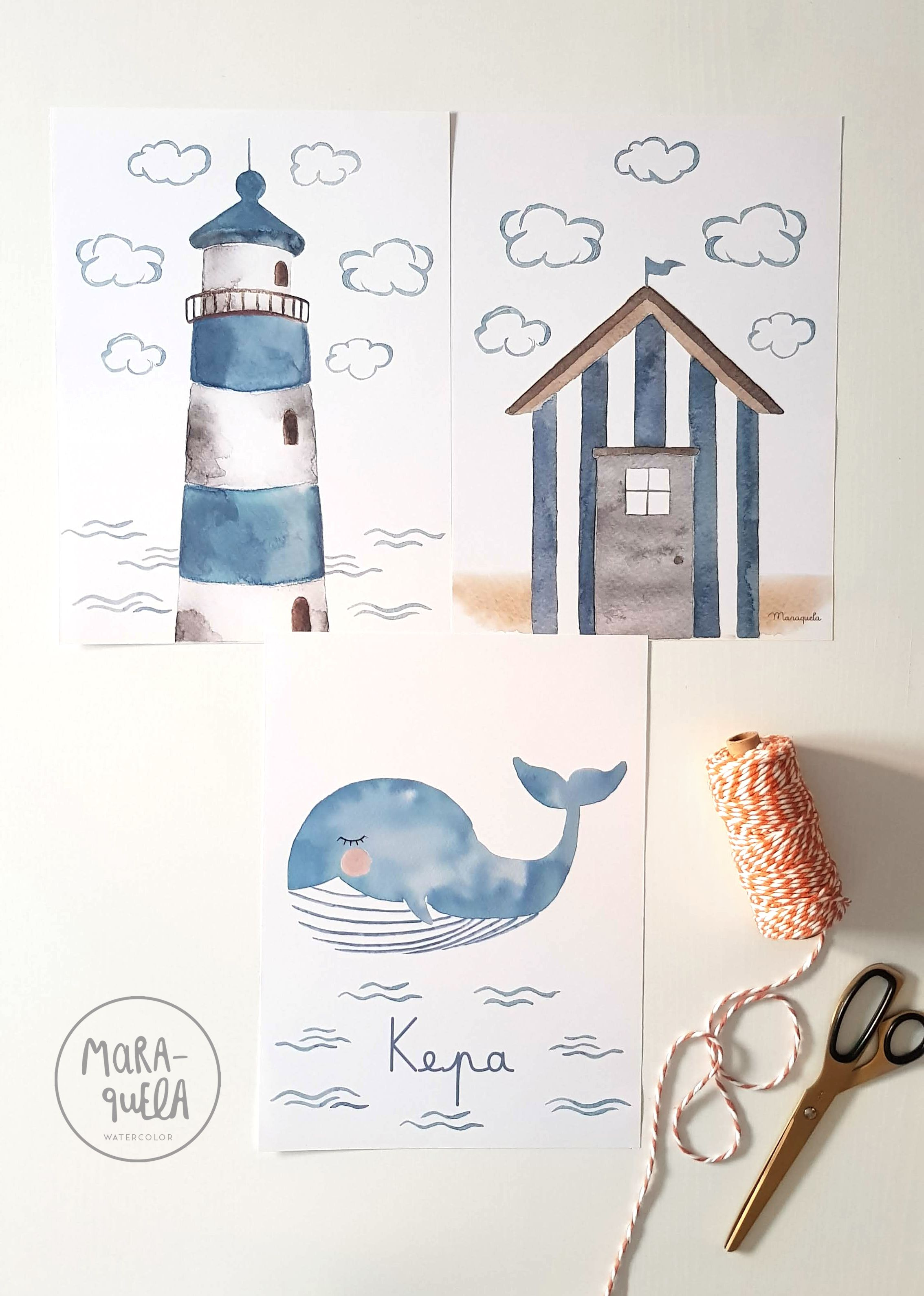 Photo of Lighthouse, beach house and whale illustration for Little Kepa