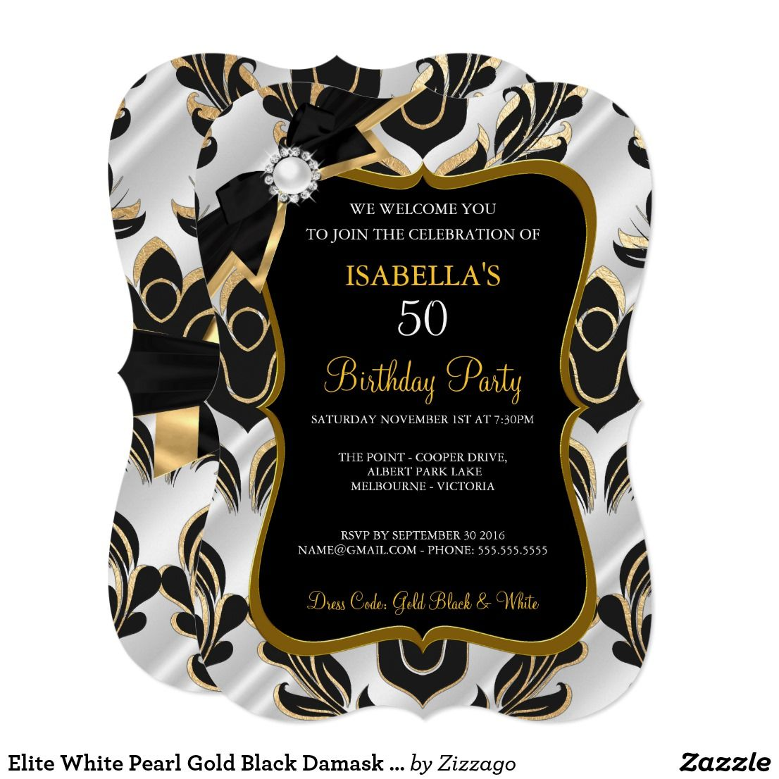 Elite White Pearl Gold Black Damask Party Invite | Zazzle.com | Damask party,  Pearl white, Girl birthday party invitations
