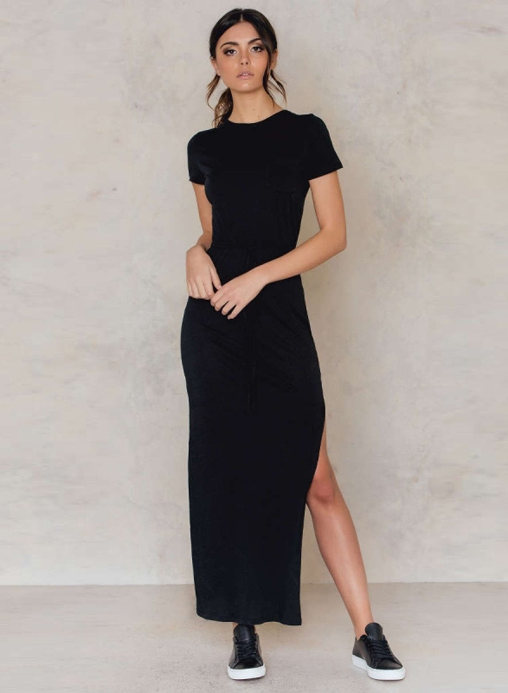 b6ae82de00f7 Short Sleeve Side Slit Slim Fit Maxi Dress