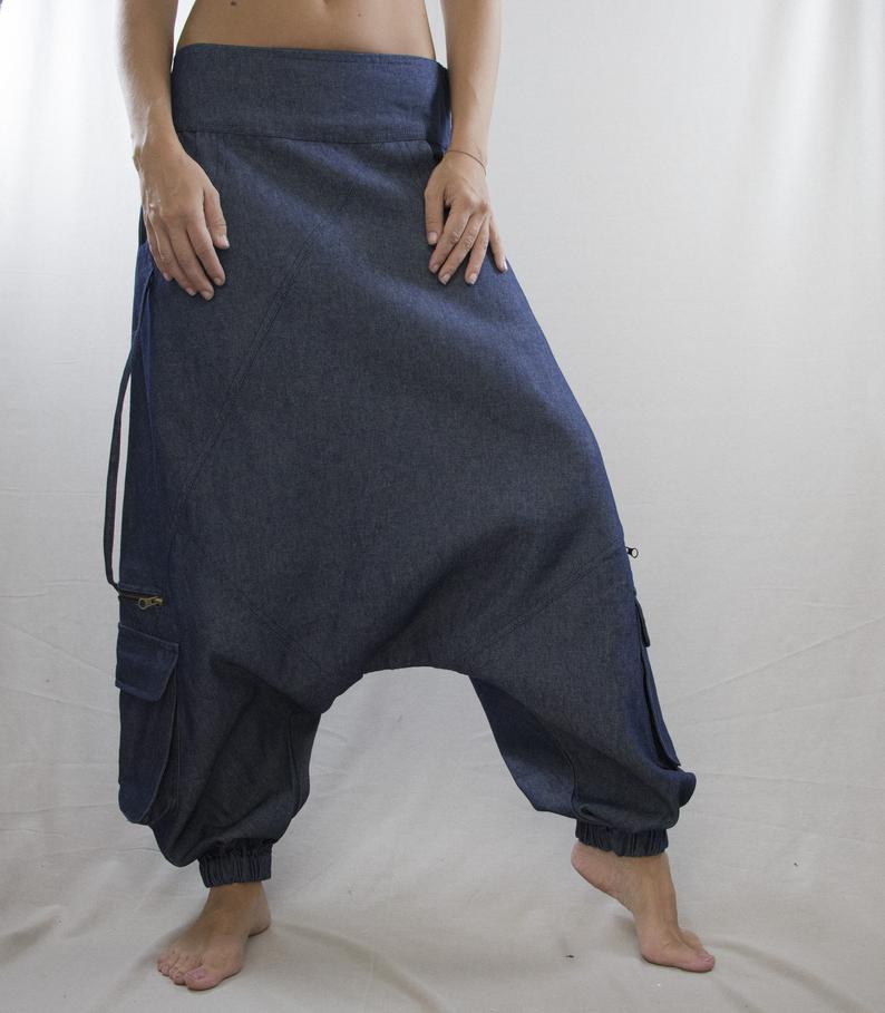 Men Denim Harem Pants Trousers Drop Crotch Baggy Asymmetric Hippie Casual Jeans