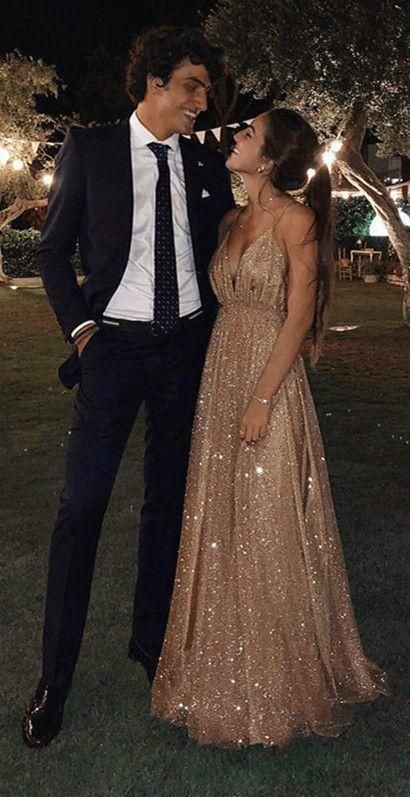 Long Sequins Evening Dresses Plunge V-neck Prom Gowns 2020