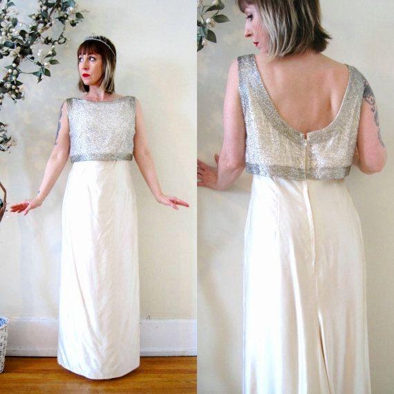vintage 60s wedding gown bridal dress / beaded silk shantung low ...