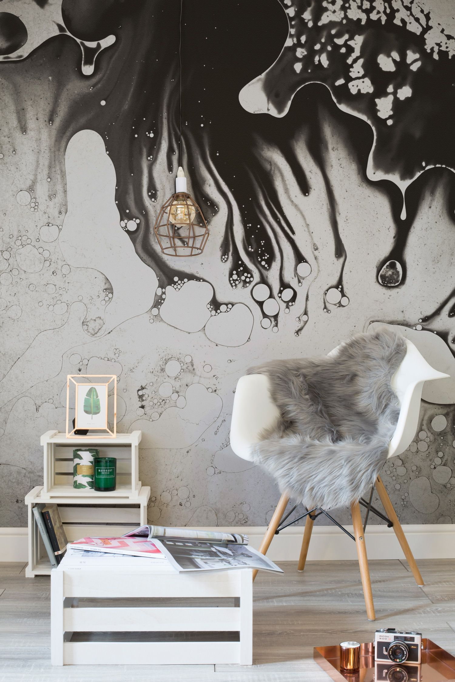 Oil Spill Wall Mural Copper Free things and Furniture