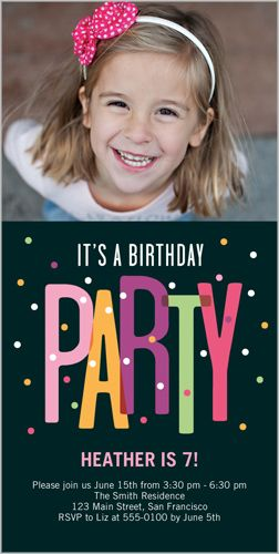 birthday invitations party dots square corners black  birthday, 4x8 invitation card