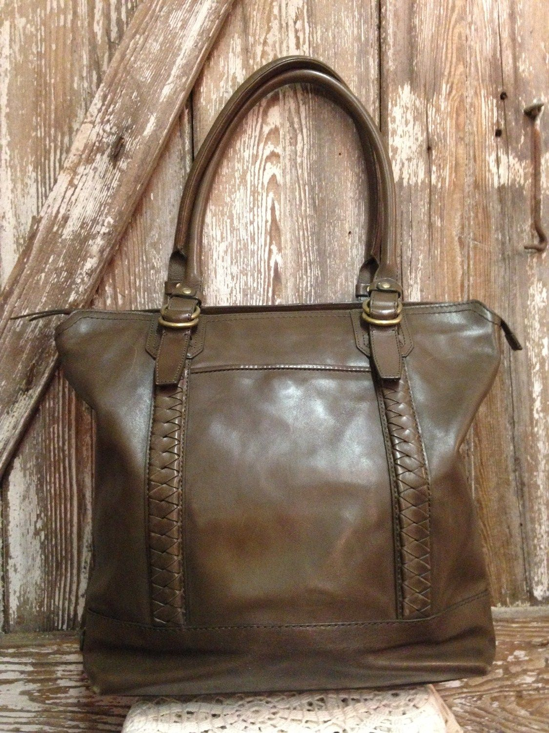 Cole Haan Olive Leather Tote Purse - $174