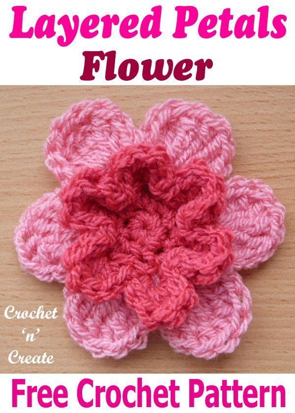 Layered Petals Flower Motif Free Crochet Pattern In 2018 Crochet