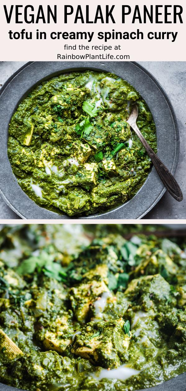 Veganer Palak Paneer Tofu in cremigem Spinatcurry  – Rainbow Plant Life Recipes