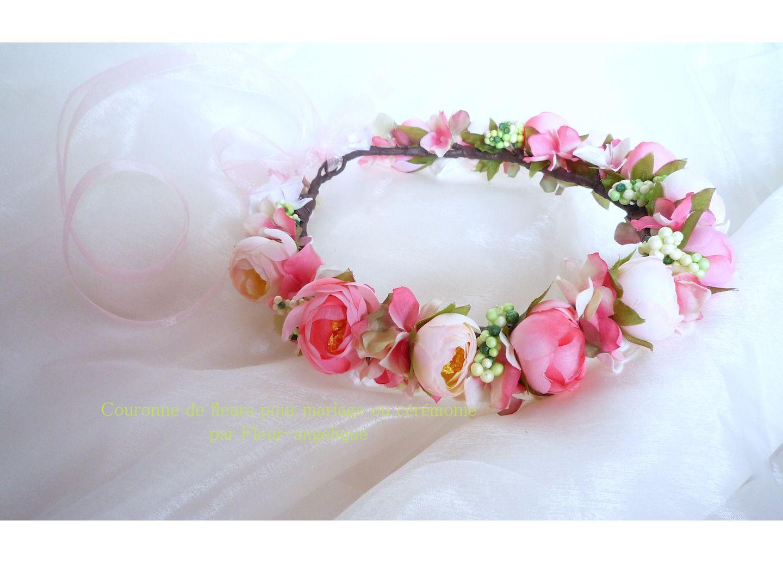 Couronne de fleurs rose cam lia pour mariage ou c r monie accessoires - Couronne fleurs mariee ...
