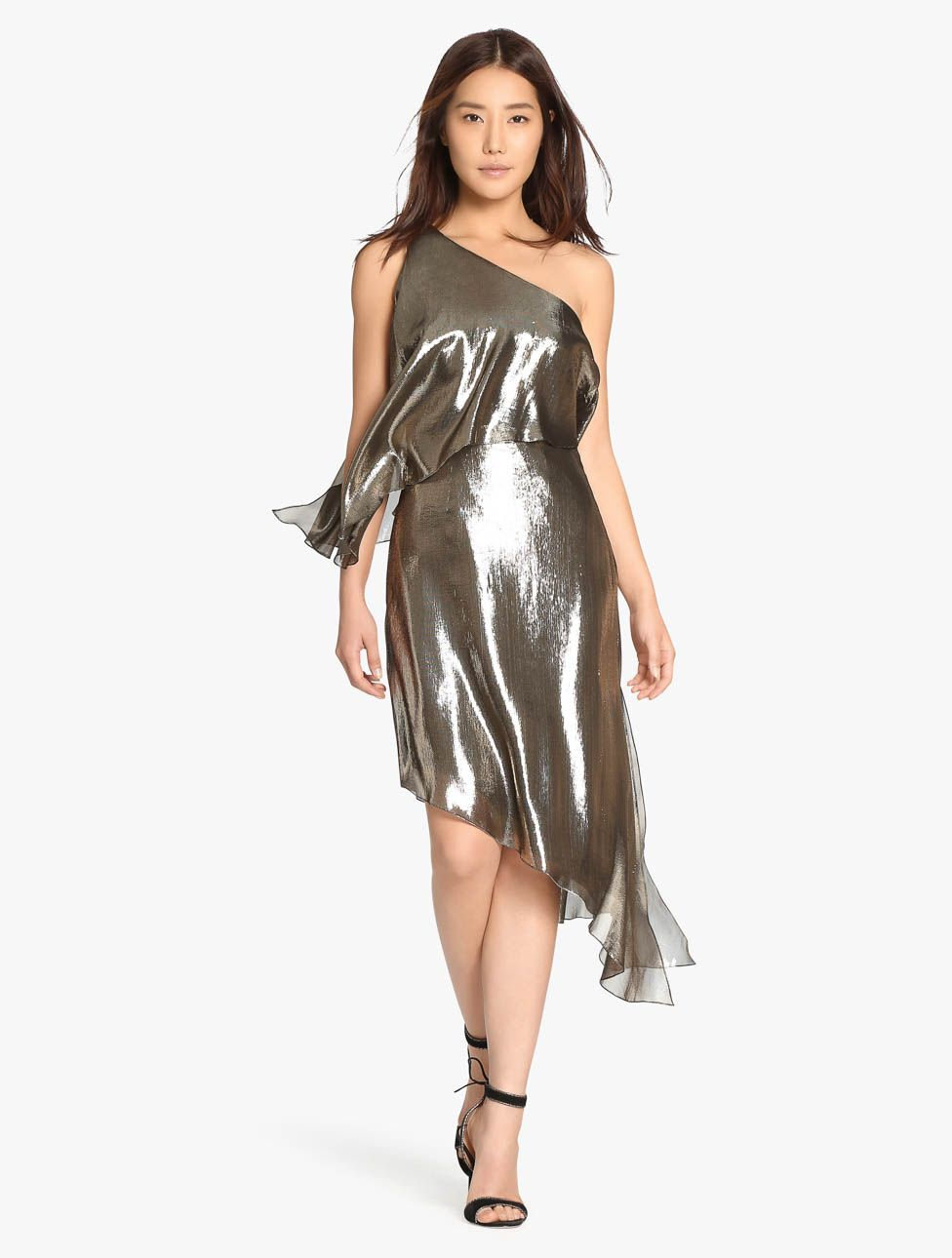 439282dcb2a One Shoulder Metallic Silk Lame Dress | After Hours | Dresses ...