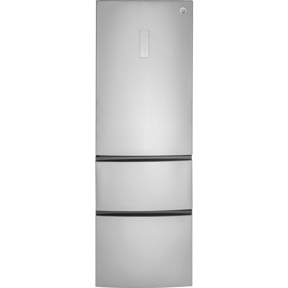 Ge 11 9 Cu Ft Bottom Freezer Refrigerator In Stainless Steel Gle12hslss The Home Depot Bottom Freezer Bottom Freezer Refrigerator Narrow Refrigerator