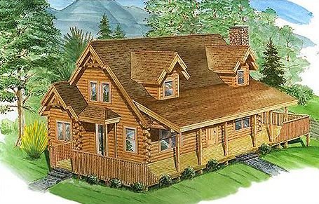 The Northeastern Log Home Brookfield consists of three bedrooms and