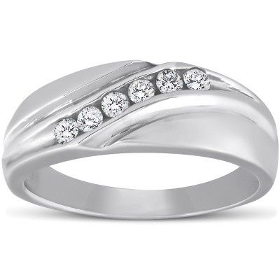Pompeii3 Mens 14k White Gold 1 4ct Diamond Wedding Ring High Polished Smooth Band Size 8 Rings Mens Wedding Bands Mens Diamond Wedding Bands Diamond Wedding Rings