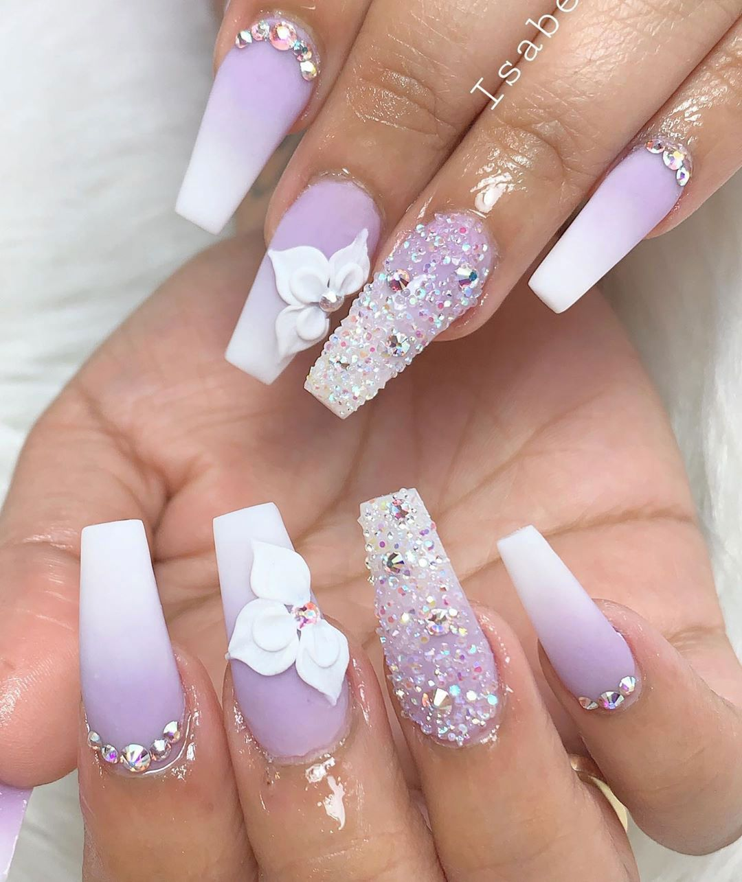 Such A Cute Purple Ombre Coffin Nails With Glitter And Rhinestones