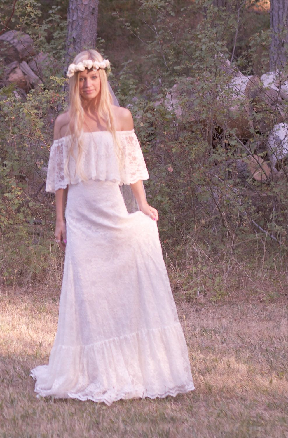 Bohemian Wedding Dress Off The Shoulder Lace Ivory 1970s
