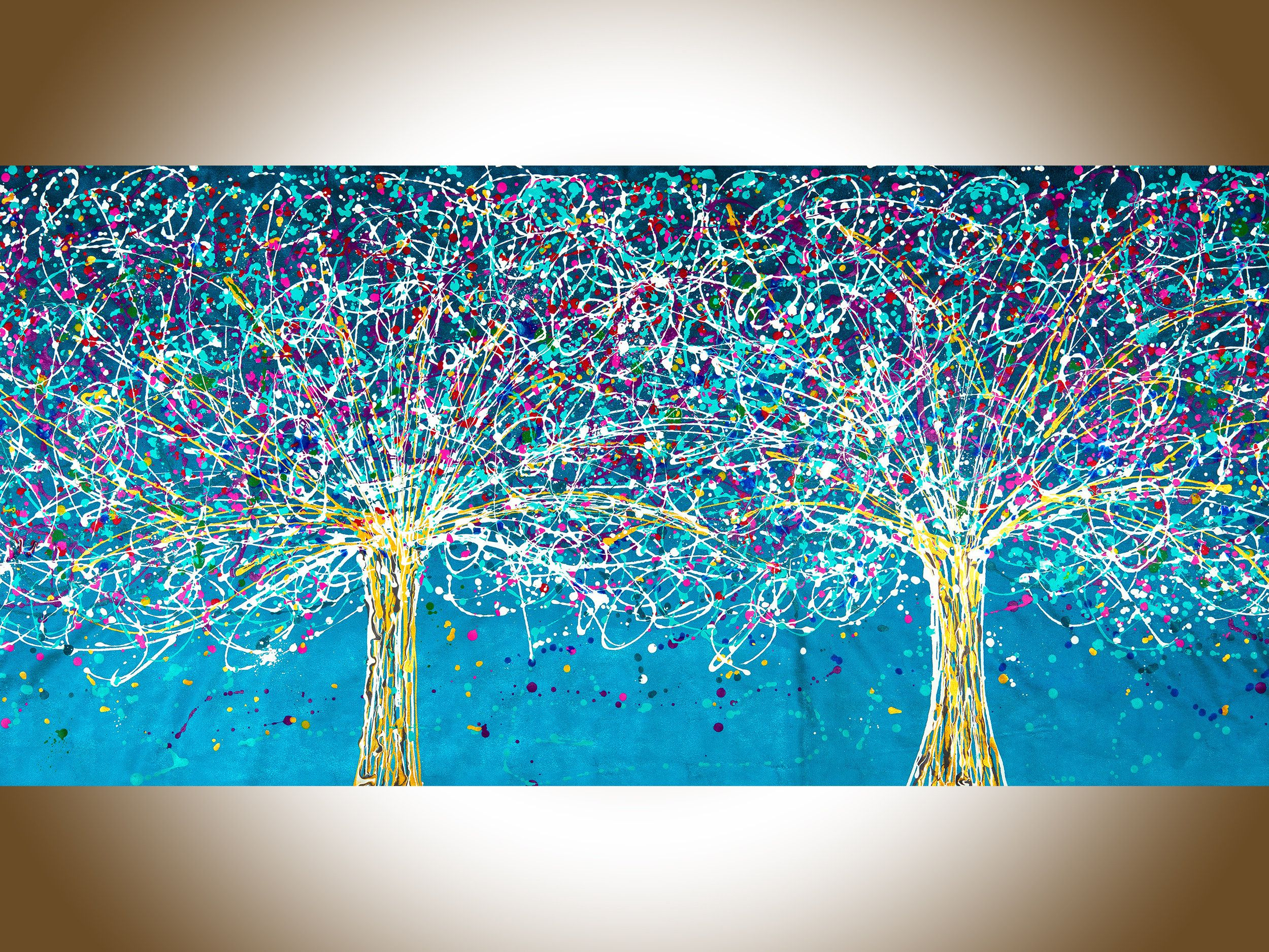 Jackson Pollock Canvas 72 Original Art Colorful Modern Art Large Wall Art Tree Landscape Painting By Yiqi Li Jackson Pollock Artwork Drip Art Original Art Painting