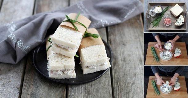TÃO CHIC estes mini sanduíches club com Fourme d'Ambert!   Receita passo a passo