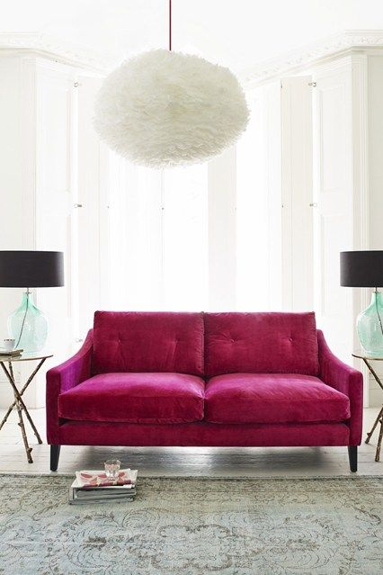 Perfect Pink Hot Pink Velvet Sofa Pink Living Room Chandelier In Living Room Living Room Designs
