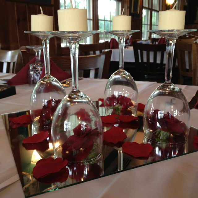 Centerpieces: Baby Roses Under Wine Glass With Candle Atop
