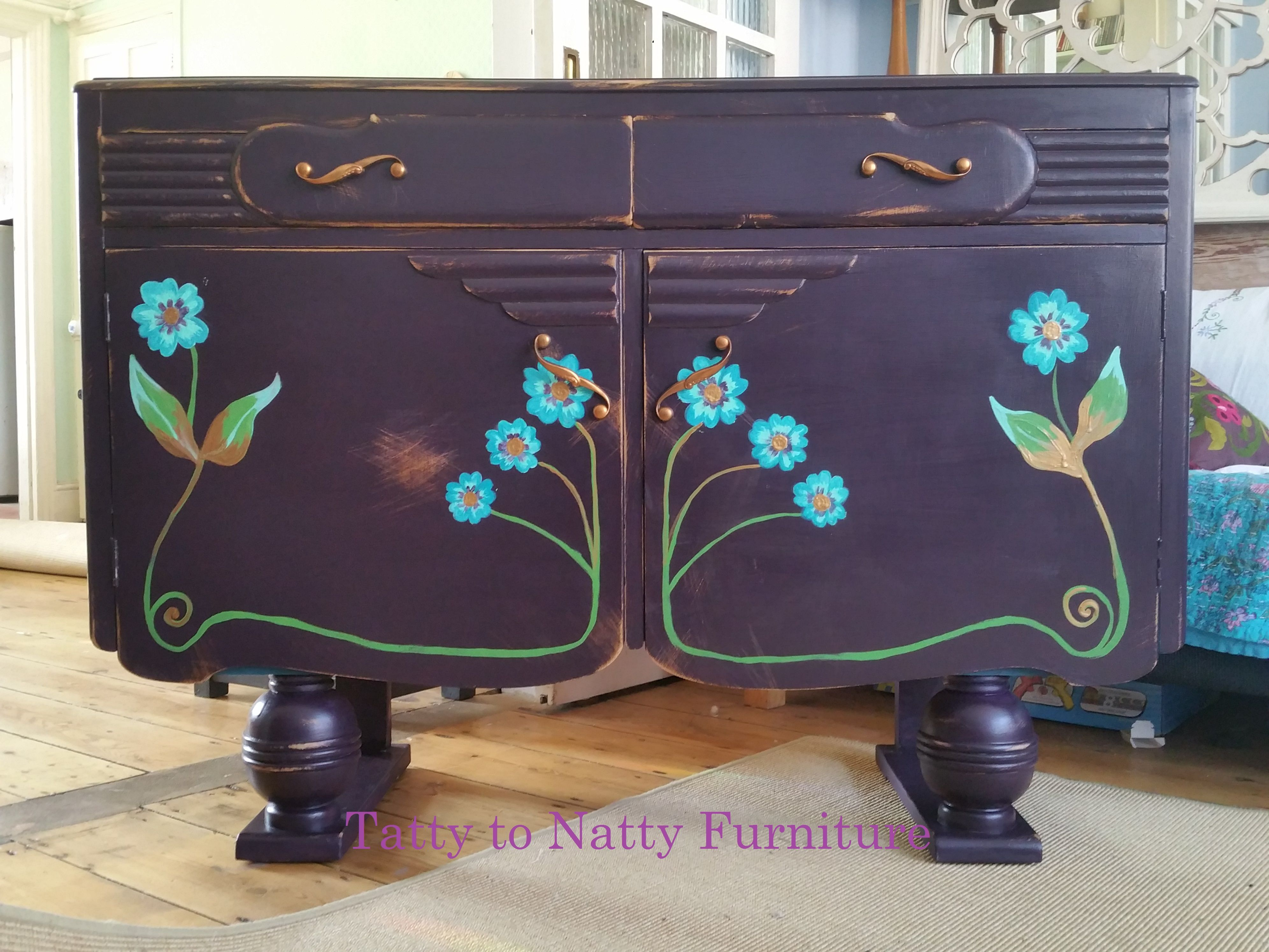 Vintage Art Deco Sideboard Upcycled Painted In Art Nouveau