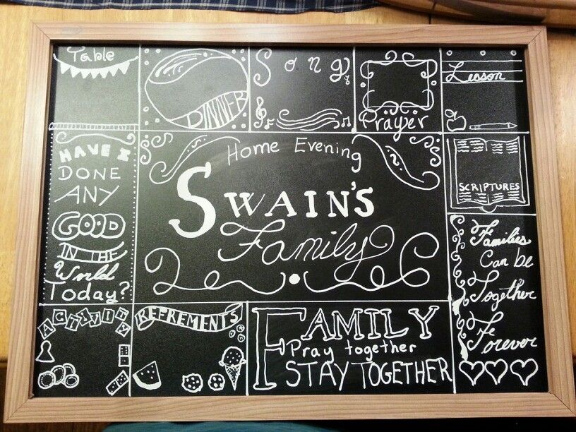 Family of 8 family home evening board. On chalkboard using white out pen.