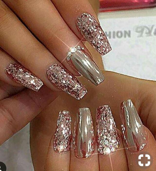 Pin By Owetta Carlisle On Summer Nails Best Ever Nail Designs Glitter Bridal Nail Art Bridal Nails