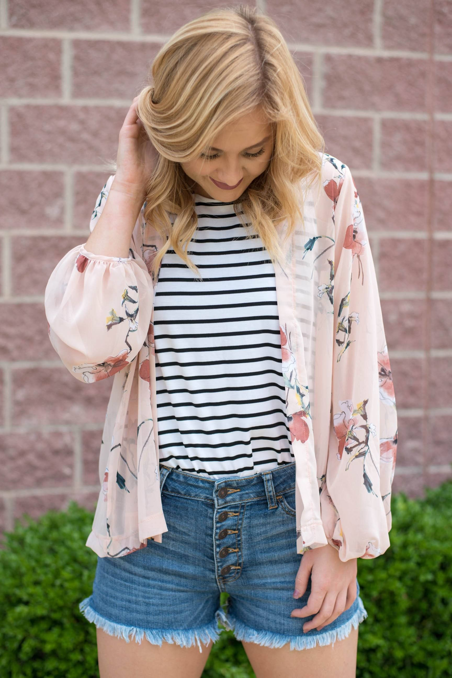 Floral bubble sleeve chiffon cardigan blush | Blush, Products and ...