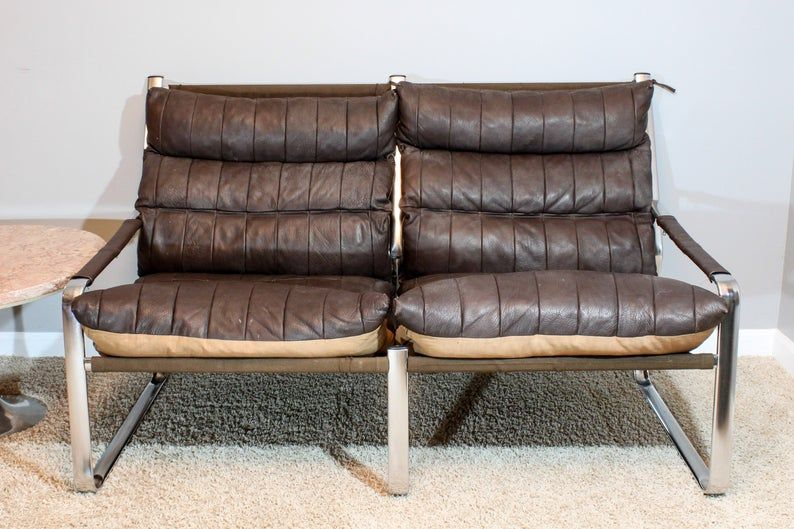 Mid Century Tube Steel Frame Quilted Leather Sling Sofa With Images Vintage Leather Sofa Leather Chair Living Room Living Room Leather