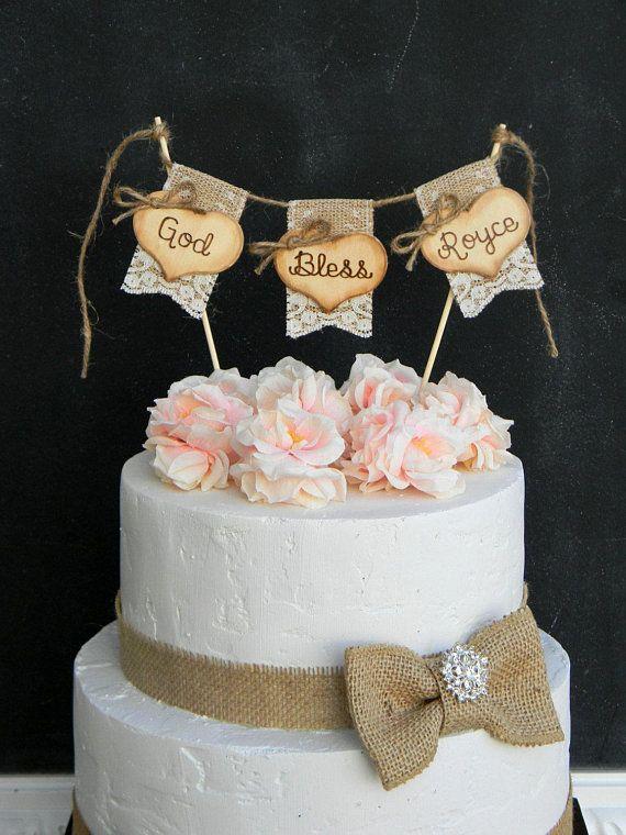 God Bless Christening Baptism Cake Topper Burlap Lace