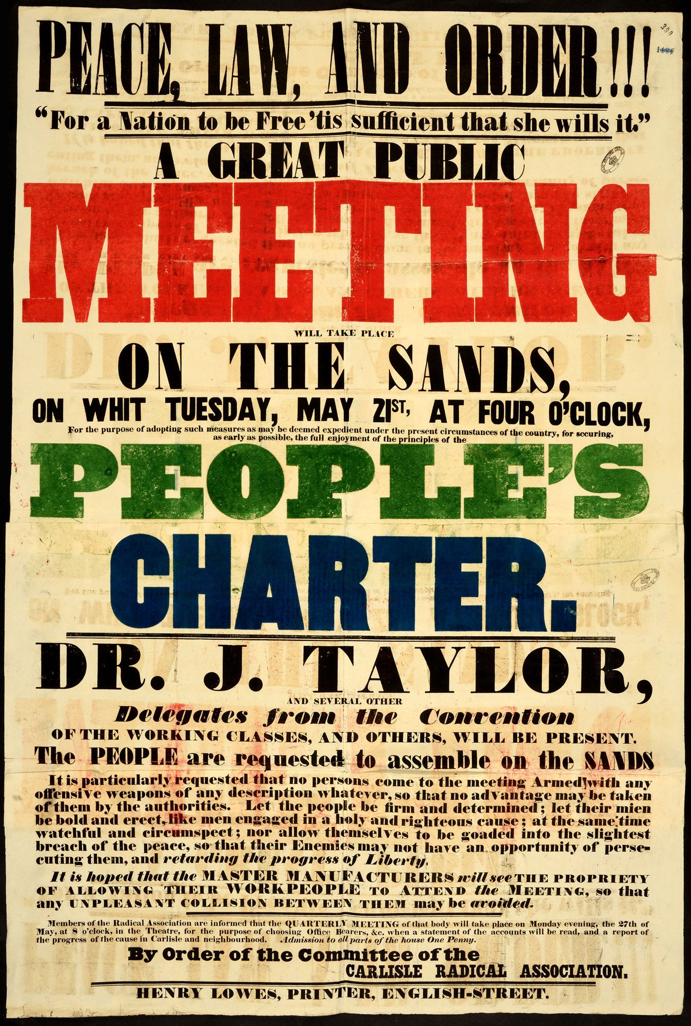Poster For Public Meeting For The People S Charter The British
