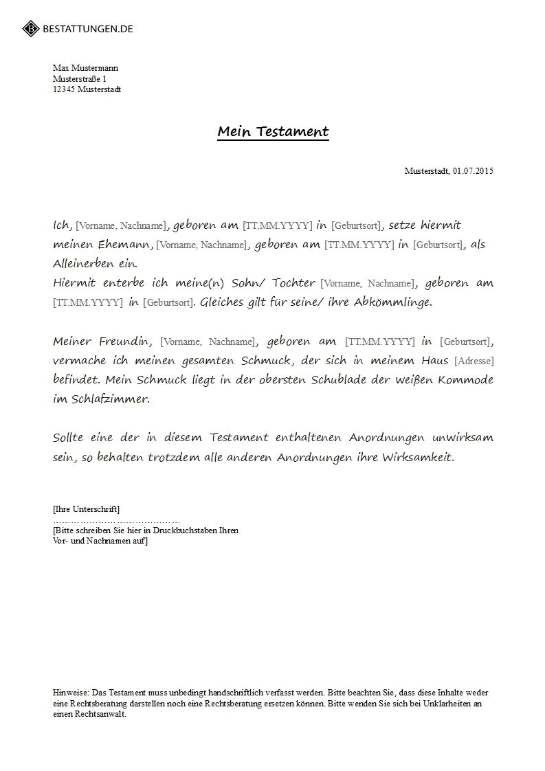 18 Wunderbar Vorlage Berliner Testament Jene