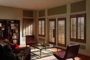 First and foremost, window treatments for French doors should not limit the function of the door. Thick wood blinds that catch in the door handle are not an acceptable solution. To avoid this issue, the solution is to choose shallow blinds that allow for room between the glass and the handle. Because the glass in a French door is not inset, it also requires a window treatment that can be mounted to the exterior of the window.