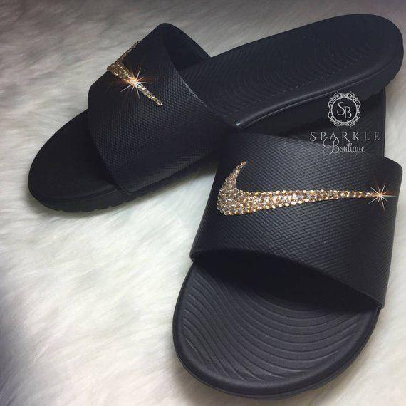 de3e96182 GOLD Nike Bling Slides - Bling Nike - Bedazzled Nike - Kawa Nike Slides -  Black   Gold - Sparkly Ni