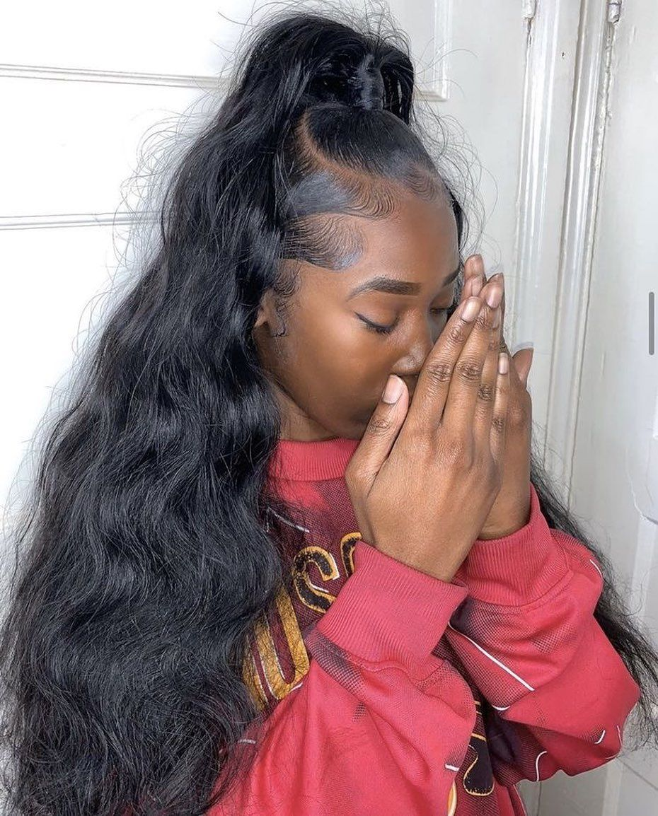 Half Up Half Down Hairstyle On Body Wave It Is Gorgeous It Just Need 3 Bundles Get It Now In 2020 Hair Ponytail Styles Weave Hairstyles Short Blonde Hair