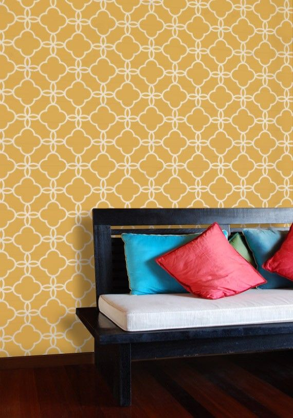 Large Lattice Wall Stencil Design Painted Decorative Wall Etsy Moroccan Wall Stencils Stencils Wall Large Wall Stencil