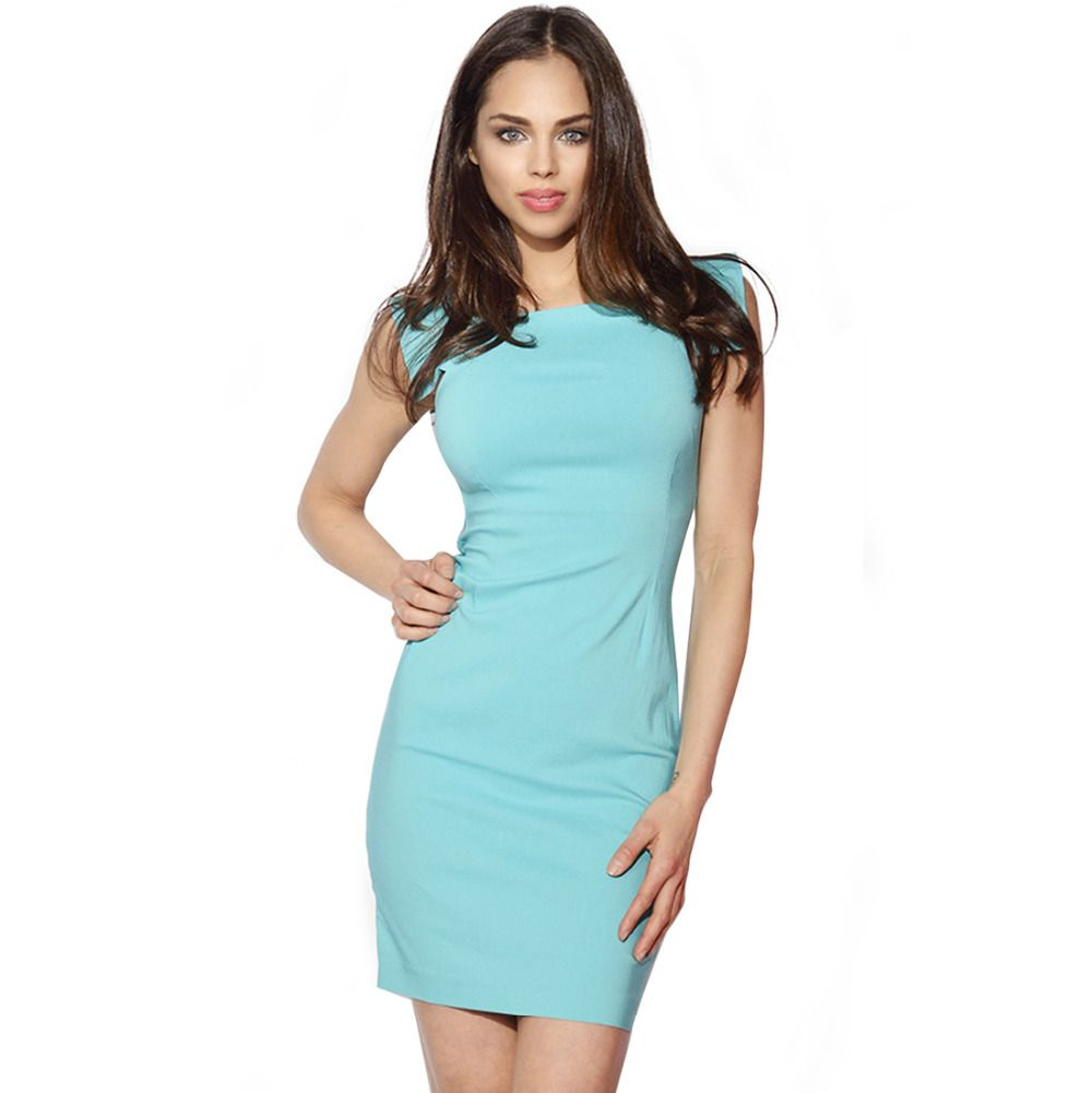 AAMIKAST Bodycon Women Dresses Formal Square Collar Short Sleeve ...