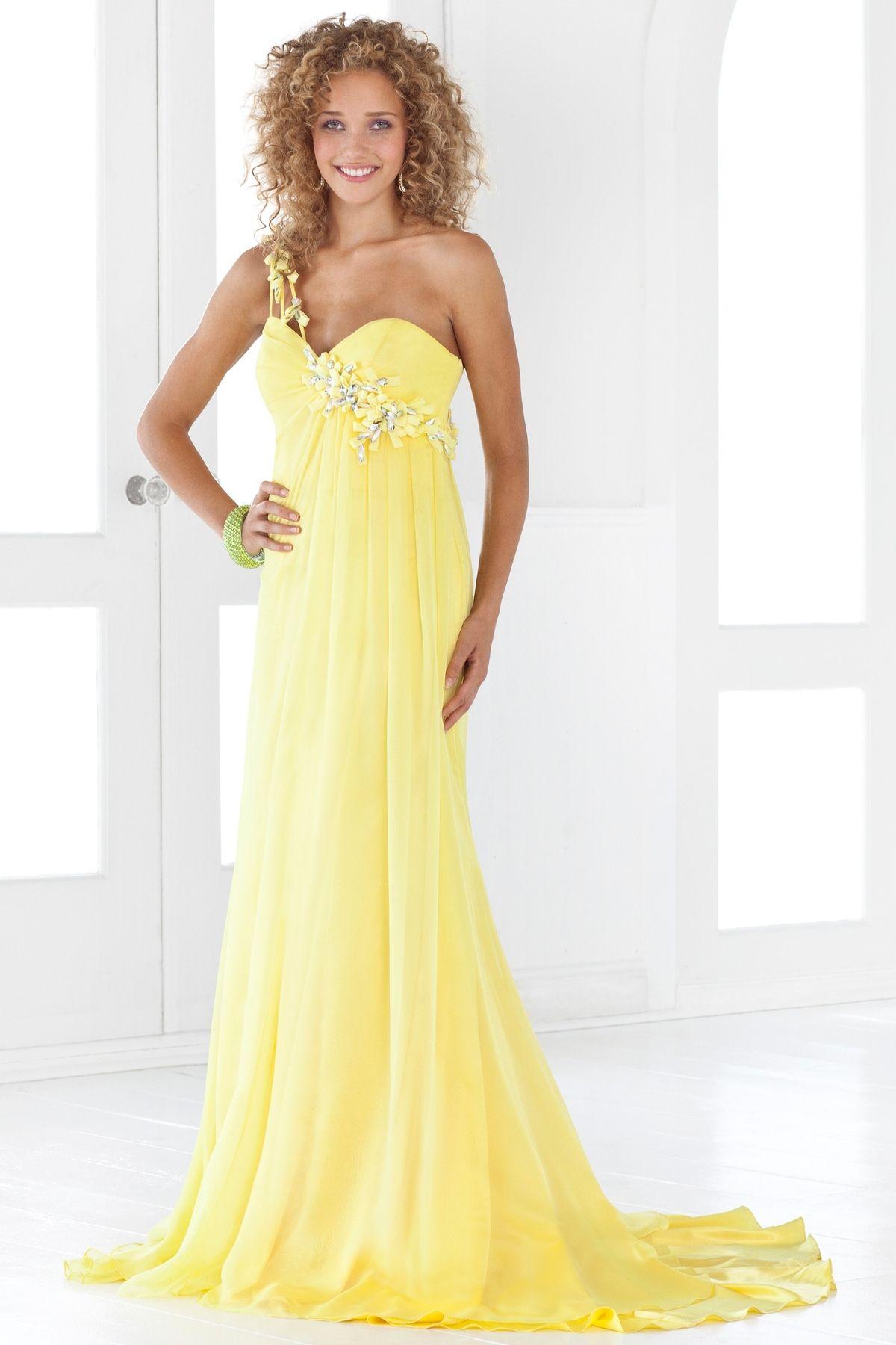 Cheap Bridal Shop Enticing Yellow Taffeta One Strap Sweep ...