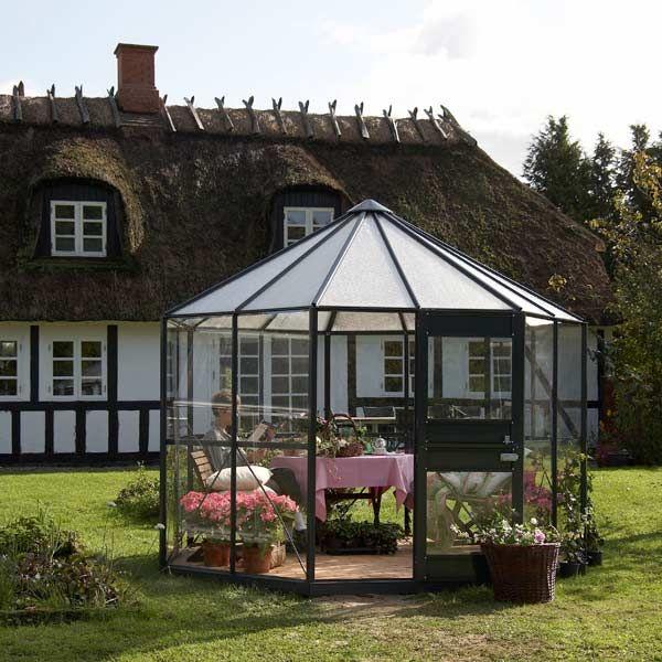 Serre de jardin Diamant 7,5m² anthracite et verre horticole ...