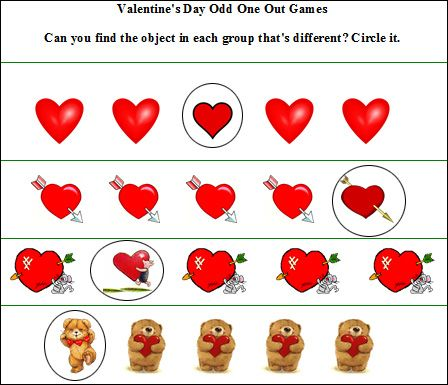 valentines day game odd one out free printable worksheet - Valentines Day Game