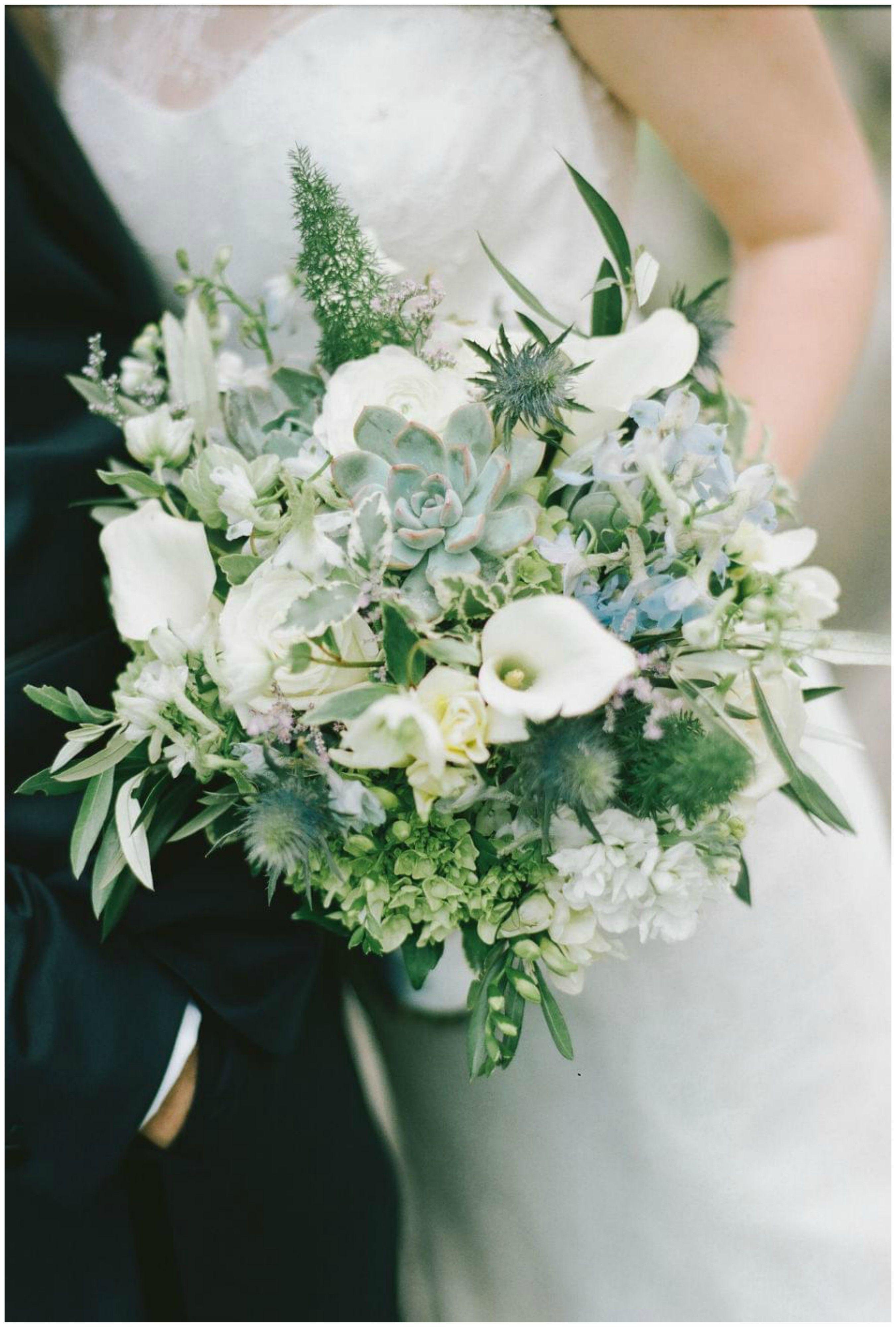 White And Pastel Blue Floral Wedding Bouquet Succulents Calla