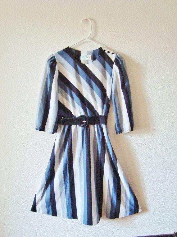 Black \u0026 White Diagonal Striped Dress